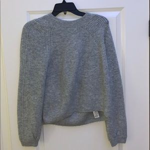 Grey Ribbed Cropped Long-Sleeve Jumper